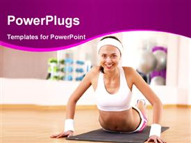 PowerPoint template displaying attractive young lady exercising on gym mat in gym