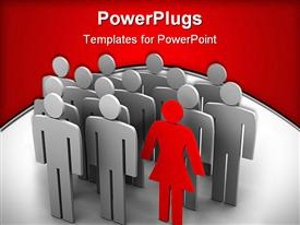 PowerPoint template displaying animated silver colored human depictions wit a red female one standing out