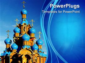 Wooden church with blue domes against blue sky background presentation background
