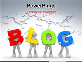 People icon the word blog- This is a template for powerpoint