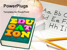 Word Education on book powerpoint design layout