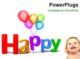 PowerPoint template displaying a happy baby with a lot of balloons and white background