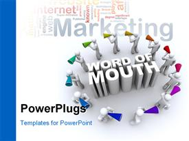 PowerPoint template displaying ring of people carrying bullhorns around the phrase Word of Mouth