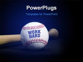 PowerPoint template displaying baseball with text WORK HARD over blue and black background