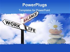 PowerPoint template displaying a large sign post with some texts and some stones beside it
