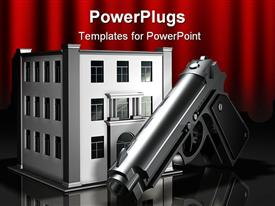 PowerPoint template displaying 3D digital representation of metallic gun in front og three story office building, gun in front of bank building, robbery theme