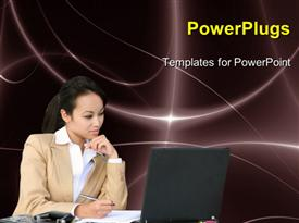 PowerPoint template displaying a pretty business lady wporking on some papers and starring at a laptop screen