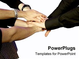 PowerPoint template displaying teamwork, hands, group effort, white background