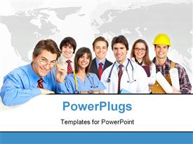 PowerPoint template displaying lots of men and women in different occupation attires smiling