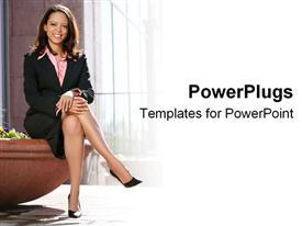 African American business woman sits confidently powerpoint theme