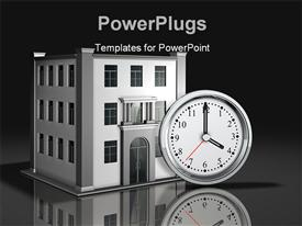Simple white-face clock sitting upright in front of a simple three-story office powerpoint template