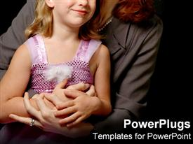 PowerPoint template displaying a woman wit a young girl holding hands on black background