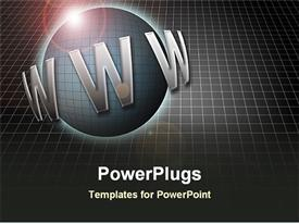 PowerPoint template displaying symbol of world wide web in black background