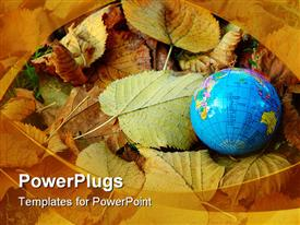 PowerPoint template displaying autumn with a lot of colored leaves and world