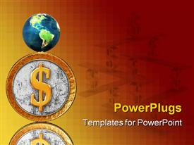 PowerPoint template displaying golden coin with reflection on mirror background