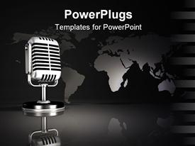 PowerPoint template displaying silver metallic old style microphone standing in front of an upright map in the background.