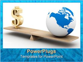 PowerPoint template displaying a globe at one side of the see saw and dollar sign on the other