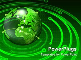 PowerPoint template displaying transparent globe with an electronic circuit pattern mapped on the continents