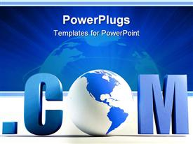 PowerPoint template displaying dot com with blue and white globe instead of o letter