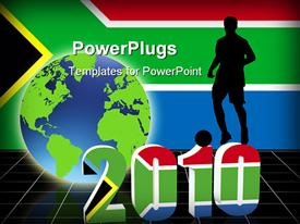 PowerPoint template displaying world cup 2010 with 3D date and footballer stood on top of date with south Africa flag