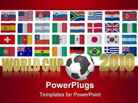 PowerPoint template displaying world cup 2010 South Africa theme with the national flags of participating countries