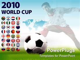 PowerPoint template displaying soccer theme with 2010 world cup and various country flag buttons soccer ball and soccer player and world map on background