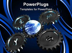 PowerPoint template displaying gear wheel with money rotate our world on white