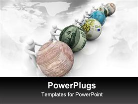 PowerPoint template displaying several figures pushing balls marked with world currencies push forward in a race for growth
