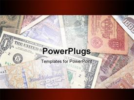 PowerPoint template displaying world Currency. Old and new. For you design in the background.