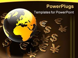 PowerPoint template displaying various currency symbols being placed along with the globe