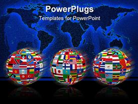 Three spheres with the national flags of all countries in the world template for powerpoint