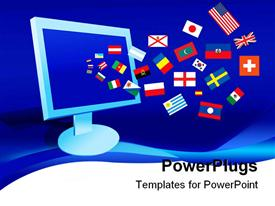 PowerPoint template displaying earth surface is tiled over with flags of all nations in the background.