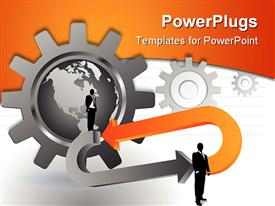 PowerPoint template displaying businessmen standing on arrows with globe and gears