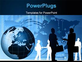 PowerPoint template displaying silhouette of business men shaking hands with globe over world map