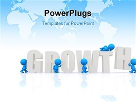 PowerPoint template displaying a number of people with the word growth and map in the background