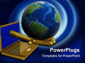 PowerPoint template displaying world in a computer. 3D depiction