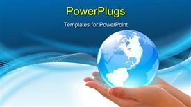 PowerPoint template displaying concept depiction -- world in hand and global internet and business