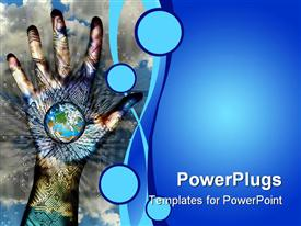 PowerPoint template displaying new technology and human touch can be the door to virtual world