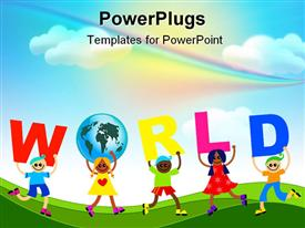 PowerPoint template displaying diverse kids holds letters to spell world and one holding a globe unity rainbow sky background