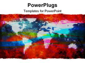 PowerPoint template displaying abstract depiction of a painting of a multi colored world map