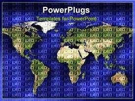 PowerPoint template displaying close up shot of world map on American dollar background