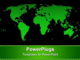 PowerPoint template displaying green world map on black background
