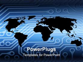 PowerPoint template displaying outline of world map overlaid with circuit board pattern in the background.