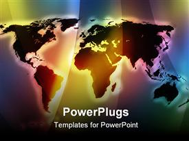 PowerPoint template displaying vivid color world map with glow effect