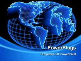 PowerPoint template displaying world map self illuminated. Concept of global information and technology of communication