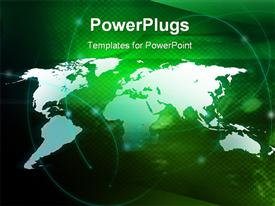PowerPoint template displaying world map technology-style with Streams of light abstract Cool waves background