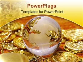 PowerPoint template displaying glass globe with gold coins and gold watch