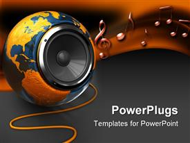 Abstract 3D earth globe with audio speaker inside powerpoint theme