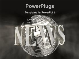 PowerPoint template displaying 3D word NEWS around earth globe with news articles over grey background