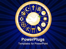 PowerPoint template displaying dove of Peace with symbols of 12 world religions in a royal blue and gold medallion in the background.